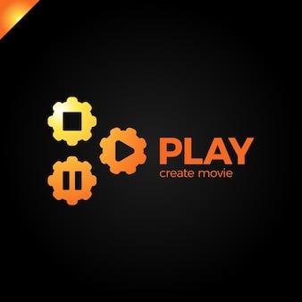 Riproduci icona con il logo dell'ingranaggio video
