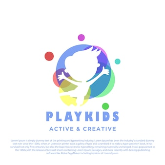 Gioca al logo per bambini con un cerchio colorato sul retro del disegno del logo per bambini del ragazzo