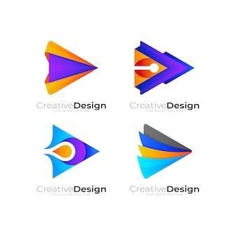 Riproduci la combinazione di design del logo e della freccia, imposta le icone di riproduzione