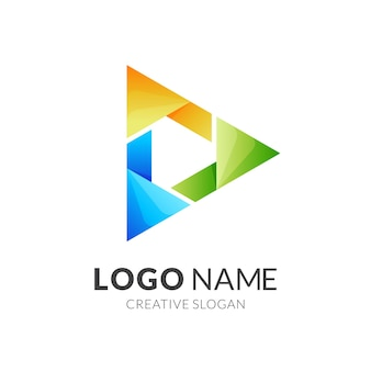 Riproduci logo e illustrazione design colorato, modello logo moderno