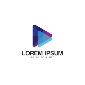 Gioca logo. video, modello icona ap musicale. logotipi di giocatori poligonali.