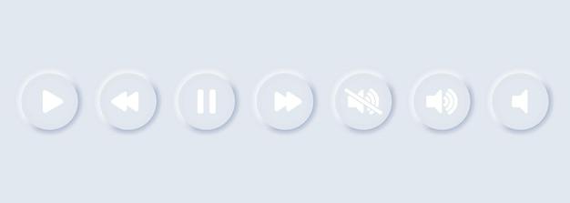 Riproduci, metti in pausa, ferma, registra, avanti, indietro, indietro, insieme di icone dei pulsanti precedenti. raccolta di simboli multimediali, pulsanti del lettore multimediale. stile di neumorfismo. vettore eps10. isolato su sfondo bianco