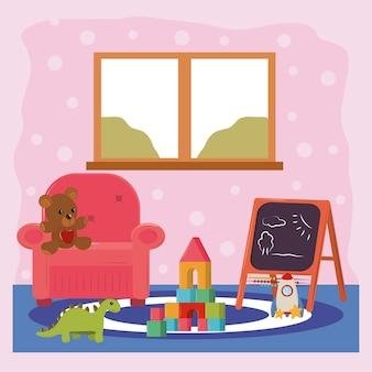 Sala giochi con giochi per bambini