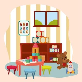 Sala giochi con giocattoli