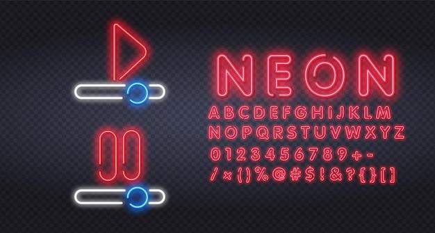 Gioca e ferma il design del modello di insegne al neon