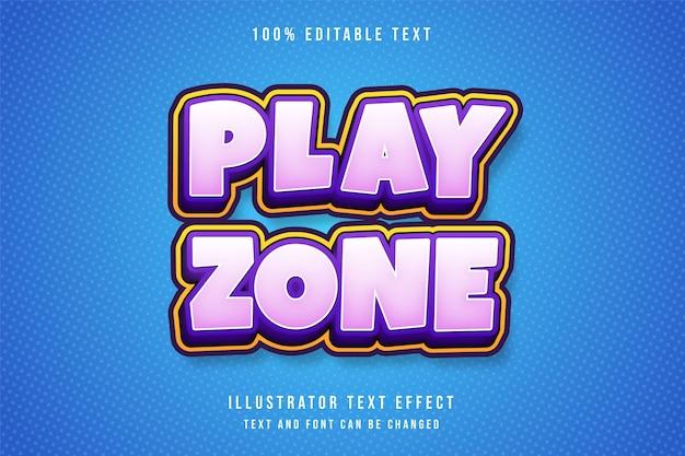 Zona di gioco, effetto testo modificabile 3d gradazione rosa giallo viola ombra stile di testo