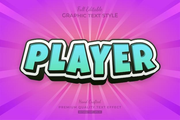 Giocatore fumetto blu turchese modificabile effetto testo stile carattere