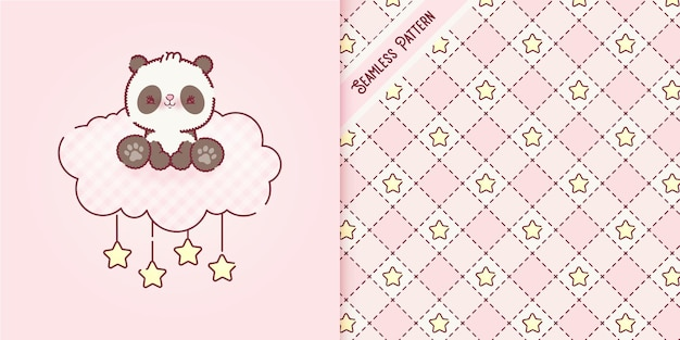 Cartone animato giocoso orsetto panda su una nuvola rosa e motivo senza cuciture premium vector