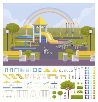Set per la creazione di parchi giochi, idee per la decorazione di aree esterne, attrezzature da gioco o kit di divertimento per bambini ricreativi, elemento di costruzione per costruire il tuo design Vettore Premium