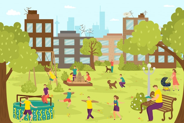 Parco giochi per l'infanzia divertente al parco all'aperto, illustrazione di persone ragazzo ragazza carina. giovani bambini felici giocano al paesaggio della città, giocando attività nella natura all'esterno. ricreazione giardino estivo.