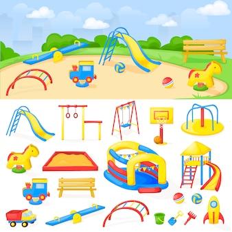 Asilo del bambino del gioco di divertimento di vettore del fumetto del parco del parco giochi