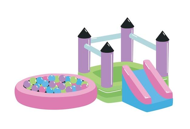 Parco giochi o area giochi per bambini con casetta, scivolo e vasca con palline isolate su sfondo bianco. attrezzatura da esterno per l'attività dei bambini. illustrazione vettoriale colorato in stile cartone animato piatto