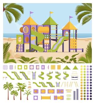 Set per la creazione di un sistema di parchi giochi, attrezzature da gioco con scivoli per la ricreazione dei bambini e kit divertenti, elementi di costruzione per costruire il tuo design