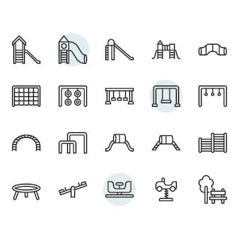 Set di icone linea sottile parco giochi