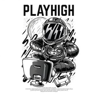 Playhigh illustrazione in bianco e nero