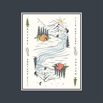 Illustrazione di carte da gioco con scenari naturali diurni e notturni