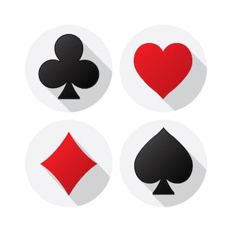Semi delle carte da gioco su sfondo bianco