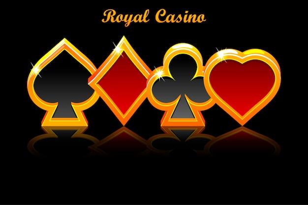 Simboli delle carte da gioco e oggetti di riflessione su sfondo nero.