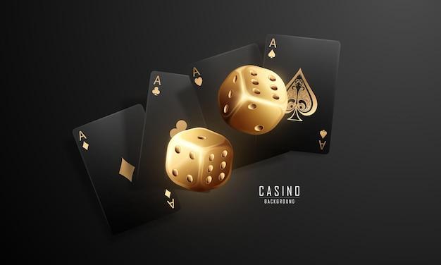 Giocando a carte. vincere i dadi del casinò della mano del poker che volano