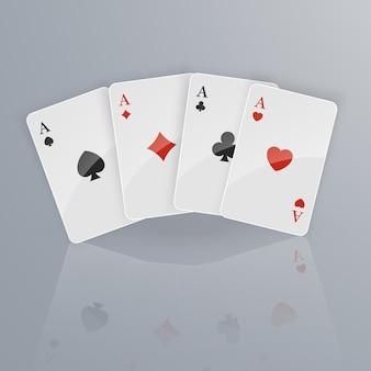 Carte da gioco che cadono su sfondo chiaro. isometrico