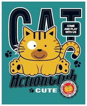 Giocando gatto carino, illustrazione vettoriale animale