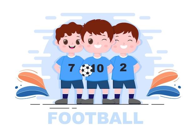 Giocare a calcio con i ragazzi giocare a calcio indossare uniformi sportive vari movimenti come calciare, trattenere, difendere, parare e attaccare in campo. illustrazione vettoriale