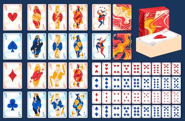 Insieme dell'illustrazione di vettore delle carte da gioco di gioco.