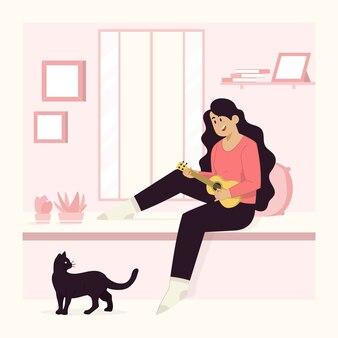 Suonare la chitarra concetto donna e gatto seduto sulla finestra a casa