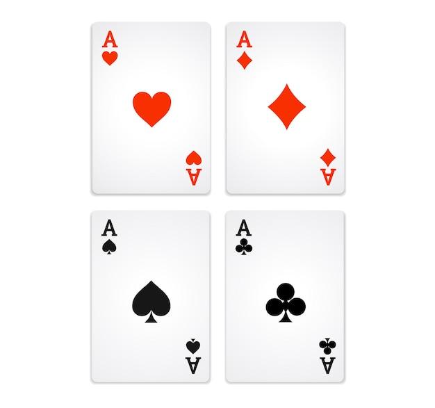 Giocare a carte da poker. quattro assi. Vettore Premium
