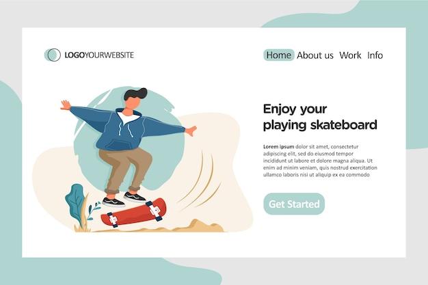 Riproduzione di illustrazione piatta di skateboard nella pagina di destinazione