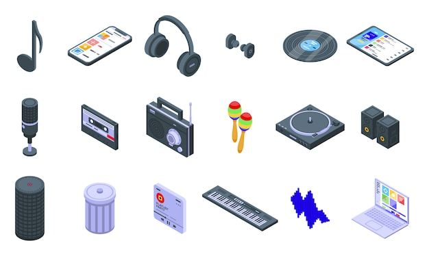 Set di icone di playlist. insieme isometrico delle icone di vettore della playlist per il web design isolato su spazio bianco