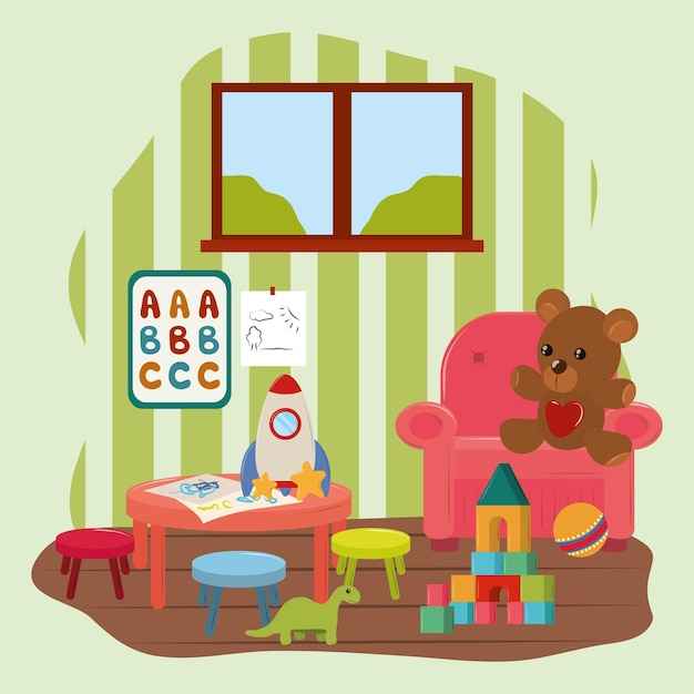 Giocattoli per bambini nella stanza dei giochi