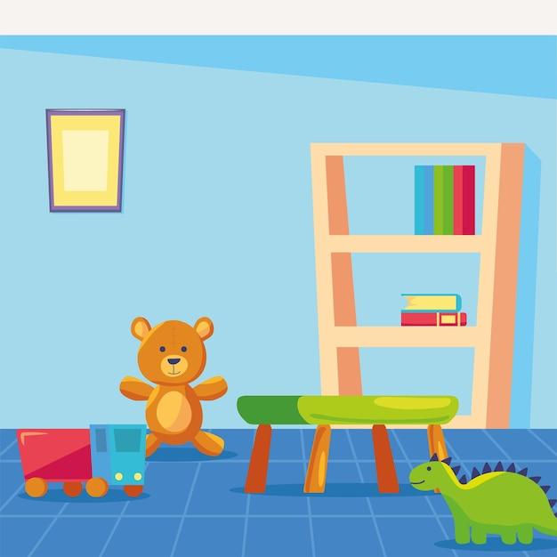Icone della scuola materna della stanza dei giochi