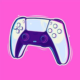 Illustrazione del fumetto del controller del bastone di playstation vettore premium