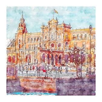 Plaza de espana spagna illustrazione disegnata a mano di schizzo ad acquerello