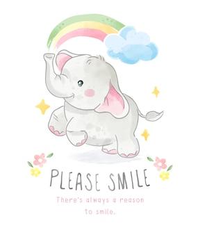 Si prega di sorridere slogan con piccolo elefante e illustrazione arcobaleno