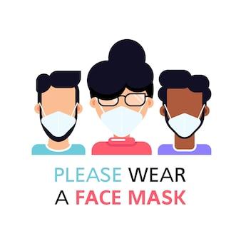 Si prega di ware una maschera per il viso, persone che indossano la maschera per il viso isolato su bianco, stile piatto