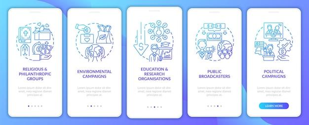 Schermata della pagina dell'app per dispositivi mobili onboarding dei tipi di campagna di impegno guida alle emittenti pubbliche 5 passaggi istruzioni grafiche con concetti. modello vettoriale ui, ux, gui con illustrazioni a colori lineari