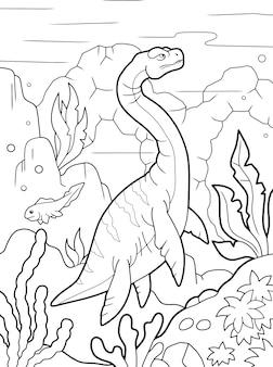 Libro da colorare di plesiosauro
