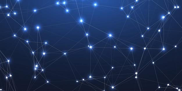Icona di concetto di tecnologia di linee di connessioni di rete del plesso con luci