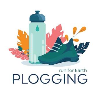 Banner di plogging, correre per il concetto di terra. tendenza eco moderna,