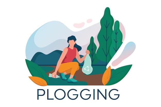 Plogging. la giovane donna prende la bottiglia di plastica durante il jogging