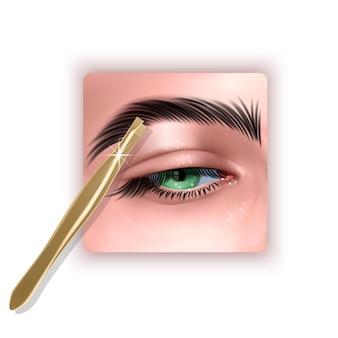 Spiumatura sopracciglia capelli pinzette in metallo per sopracciglia illustrazione 3d in stile realistico