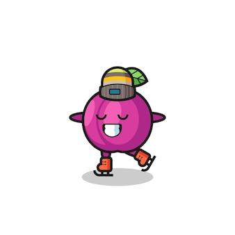 Cartone animato di frutta di prugna come un giocatore di pattinaggio sul ghiaccio che si esibisce, design in stile carino per maglietta, adesivo, elemento logo