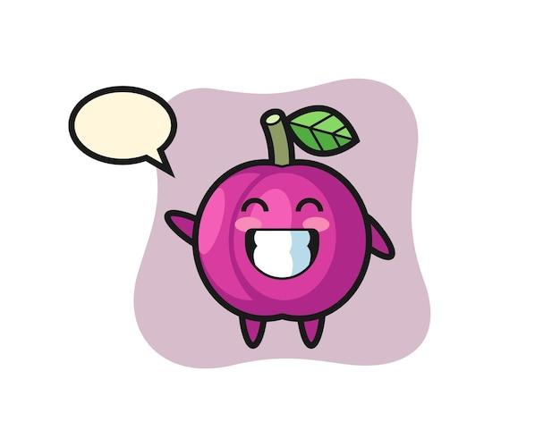 Personaggio dei cartoni animati di frutta prugna che fa il gesto della mano con l'onda, design in stile carino per maglietta, adesivo, elemento logo