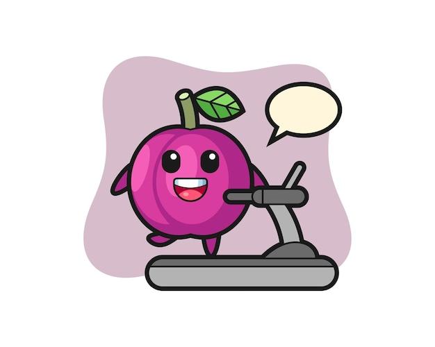 Personaggio dei cartoni animati di frutta prugna che cammina sul tapis roulant, design in stile carino per maglietta, adesivo, elemento logo