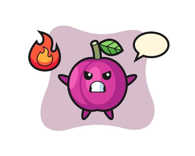 Cartone animato personaggio frutta prugna con gesto arrabbiato, design in stile carino per maglietta, adesivo, elemento logo