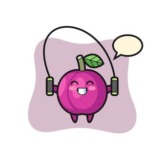 Cartone animato personaggio frutta prugna con corda per saltare, design in stile carino per maglietta, adesivo, elemento logo