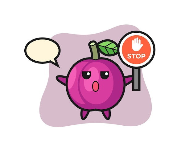 Illustrazione del personaggio di frutta prugna con un segnale di stop, design in stile carino per t-shirt, adesivo, elemento logo