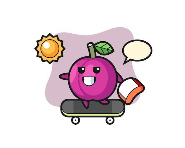 L'illustrazione del personaggio di frutta prugna cavalca uno skateboard, design in stile carino per t-shirt, adesivo, elemento logo